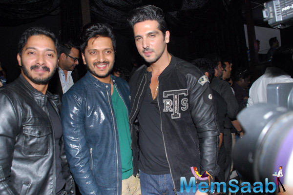 Shreyas Talpade,Riteish Deshmukh And Zayed Khan Posed At The Launch Of Sajid Nadiadwala Film Murder Mystery