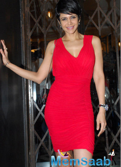 Mandira Bedi In Red Short Dress Cool Pose During Zluekha Shariff Collection Launch