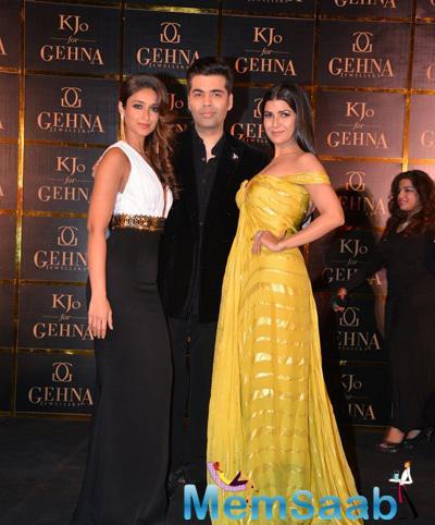 Ileana D'Cruz,Karan Johar And Nimrat Kaur Strike A Pose During The Signature Collection Of Gehna Jewellery