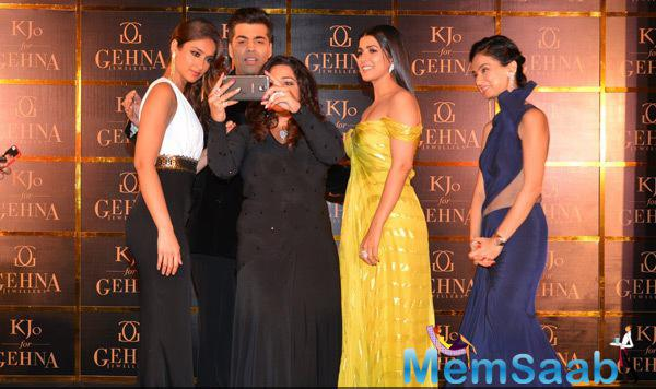 Ileana D'Cruz,Karan Johar,Nimrat Kaur And Other Celebs Taking Selfie During The Launch Of Gehna Jewellers Select Collection