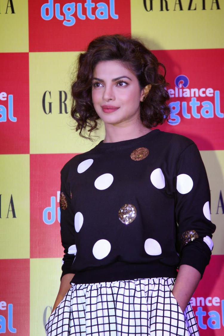 Priyanka Chopra Looked Lovely During The Launch Of Grazia Magazine Cover Page