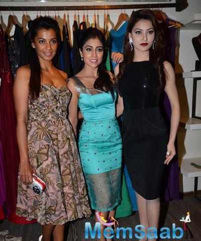 Mugdha Godse,Shriya Saran And Urvashi Rautela Unveil The  Rajat Tangri New Dress Collection