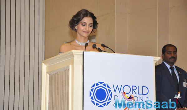 Bollywood Actress Sonam Kapoor Hosted The World Diamond Conference 2014 Held In Delhi