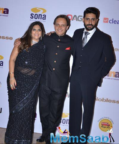 Abhishek Bachchan Clicked With Guests During Magic Bus Charity Dinner 2014