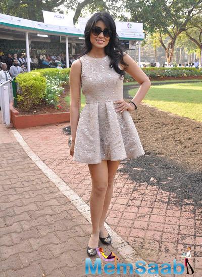 Shriya Strikes A Sizzling Pose At The RWITC In Mumbai