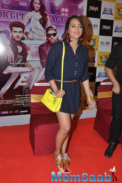 Sonakshi Sinha In A Short Dress Posed At Chandigarh During The Promotion Of Tevar Movie