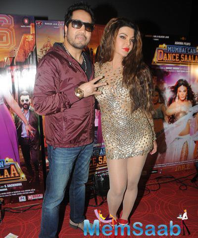 Mika Singh Strikes A Pose With Rakhi Sawant During Mumbai Can Dance Saala Movie Trailer Launch