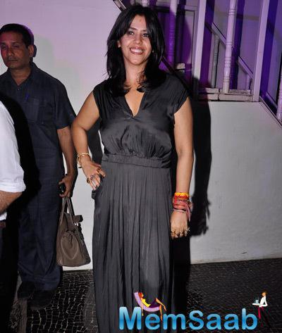 Ekta Kapoor Strike A Pose For Shutterbug At The Launch Of Telly Calender