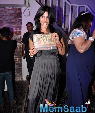 Ekta Kapoor Smiling Pose For Shutterbug At The Launch Of Telly Calender