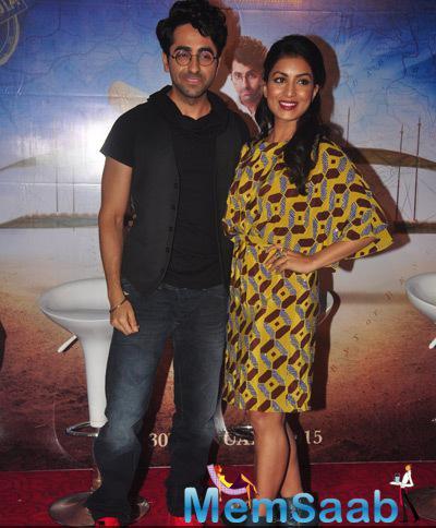 Ayushmann Khurrana And Pallavi Sharda Strike A Pose During The Launch Of Film Hawaizaada
