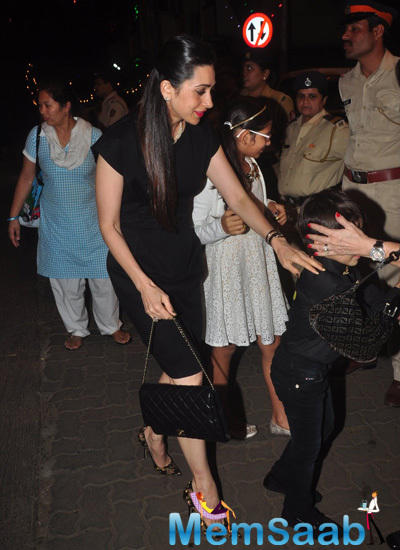 Karisma Kapoor With Her Kids At Midnight Mass On Christmas