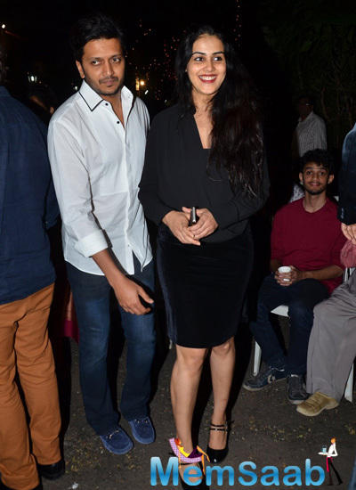 Riteish Deshmukh And Genelia D'Souza Stirke A Cool Smiling Pose For Shutterbugs At Midnight Christmas Celebrations