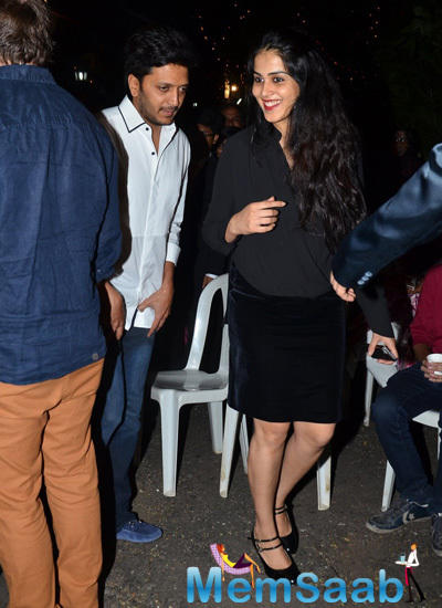 Riteish Deshmukh And Wife Genelia D'Souza Made A Public Appearance At Christmas Midnight Celebrations