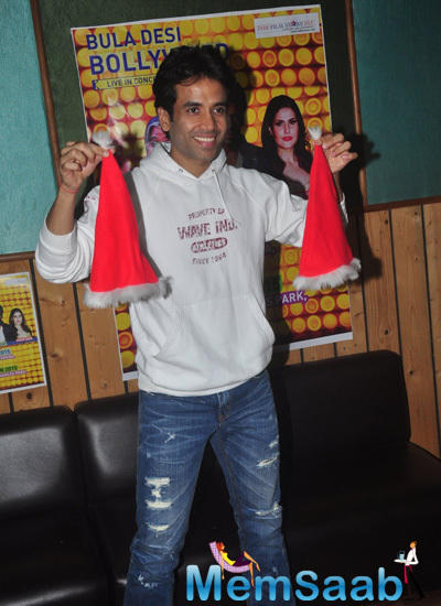Tusshar Kapoor Holding A Christmas Cap On Christmas Day