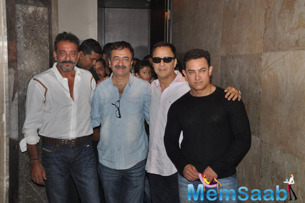 Sanjay Dutt,Rajkumar Hirani,Vidhu Vinod Chopra And Aamir Khan Clicked At PK Special Screening