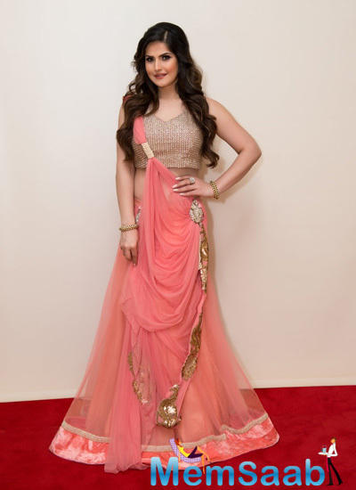 Zareen Khan Dressed In Amita Bal Design For Christmas Gala Event