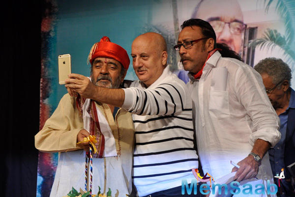Anupam Kher And Jackie Shroff Taking Selfie During The Book Launch Of Ali Peter John Witnessing Wonders