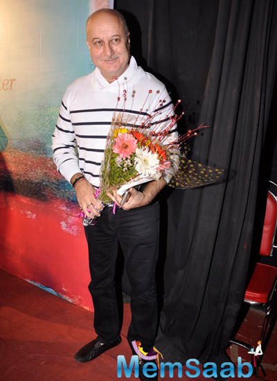 Anupam Kher Smiling Pose During The Book Launch Of Ali Peter John Witnessing Wonders