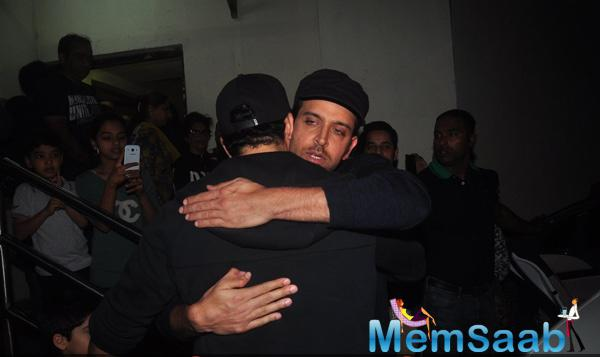 Hrithik Roshan And Zayed Khan Hugging Each Other At PVR