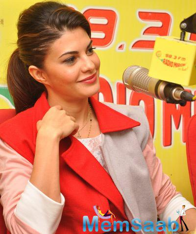 Jacqueline Fernandez Interacting With Audiance For Roy Promotion At 98.3 FM