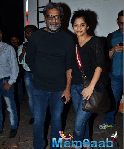 R. Balki Posed With Wife Gauri Shinde During The Trailer Launch Of Shamitabh