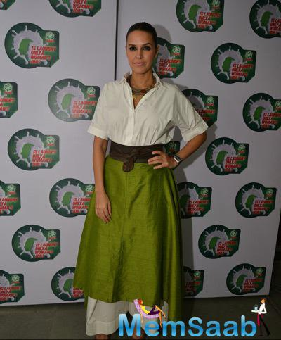 Neha Dhupia Cool Look In Designer Dress During The National Survey Event