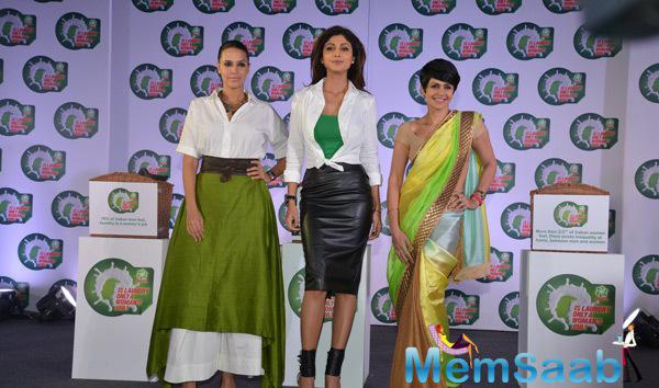 Neha Dhupia,Shilpa Shetty And Mandira Bedi Unveiled The Ariel's National Survey Event
