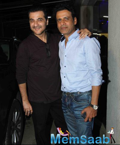 Sanjay Kapoor And Manoj Bajpai Posed For The Sutterbugs At The Special Screening Of Tevar Movie