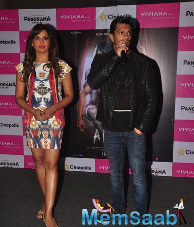Karan Singh Grover Spoke Some Words And Bipasha Basu Lookes On At The Promotion Of Alone Movie