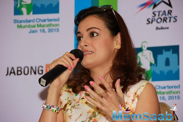 Dia Mirza Speaks During The SCMM Marathon Event