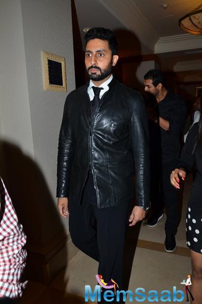 Abhishek Bachchan In Black Suit Dapper Look At The Launch Of Hera Pheri 3 Movie