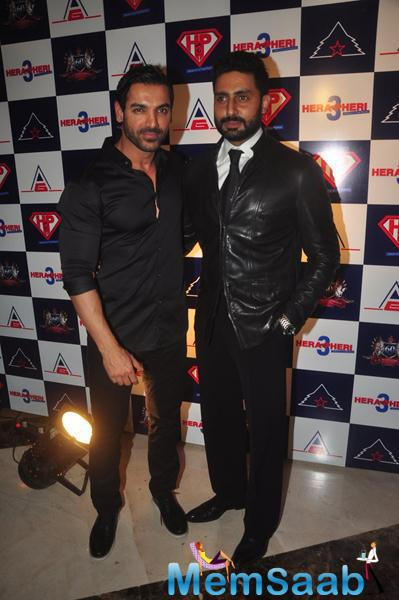 John Abraham Posed With Abhishek Bachchan At The Launch Of Hera Pheri 3 Movie