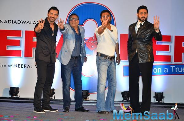 John Abraham,Paresh Rawal,Sunil Shetty And Abhishek Bachchan Launched Hera Pheri 3 Movie