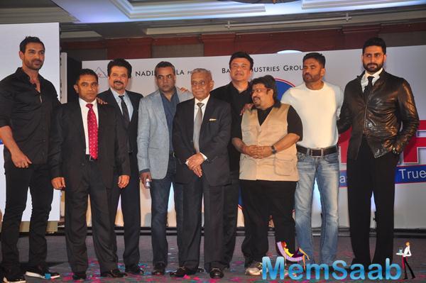 John,Anil,Paresh,Anu,Neeraj,Sunil And Abhishek Clicked At The Launch Of Hera Pheri 3 Movie