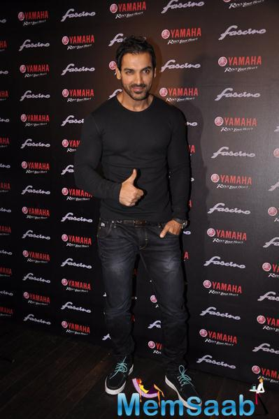 John Abraham During The Launch Of Yamaha Fascino 2015 Calendar In Mumbai