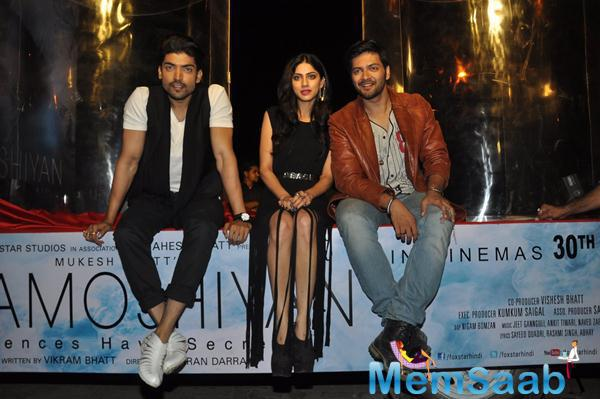 Gurmeet,Ali Fazal And Sapna Pabbi At Carter Road For Khamoshiyan Promotion