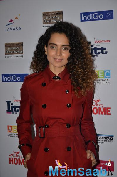 Curly Hair Beauty Kangana Ranaut Snapped At ITT Travel Exhibition