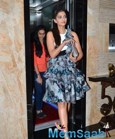 Fashionista Sonam Kapoor Looked Stunning In A Floral Skirt Teamed With White Tank Top