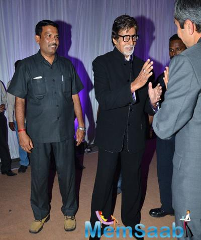 Amitabh Bachchan In Busy With Chat At Kush Sinha Wedding Reception