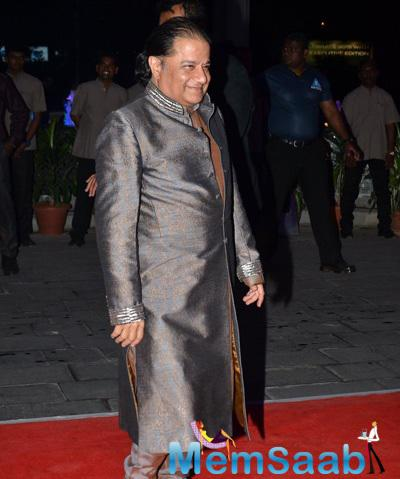 Anup Jalota Flashes Smile At Kush Sinha Wedding Reception