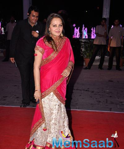 Jaya Prada Radiant Look On Red Carpet At Kush Sinha Wedding Reception