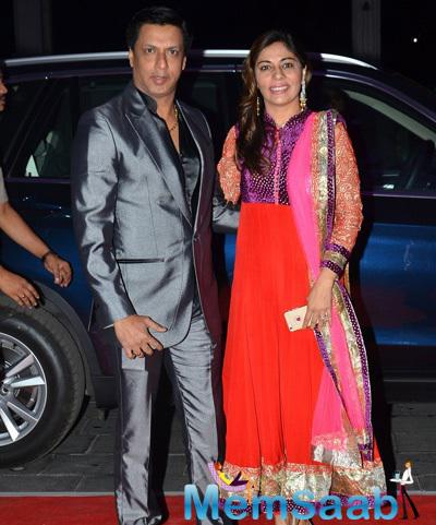 Madhur Bhandarkar And Wife Renu At Kush Sinha Wedding Reception