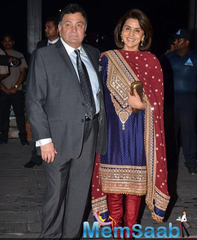 Rishi Kapoor And Wife Neetu Kapoor Posed At Kush Sinha Wedding Reception