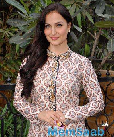Elli Avram Snapped At Festive Collection Preview By SVA In Mumbai