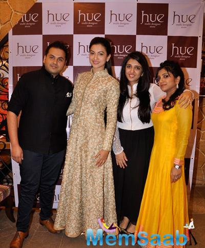 Gauhar Khan Strikes A Pose With The Designers At The Launch Of The Hue Multi-Designer Store