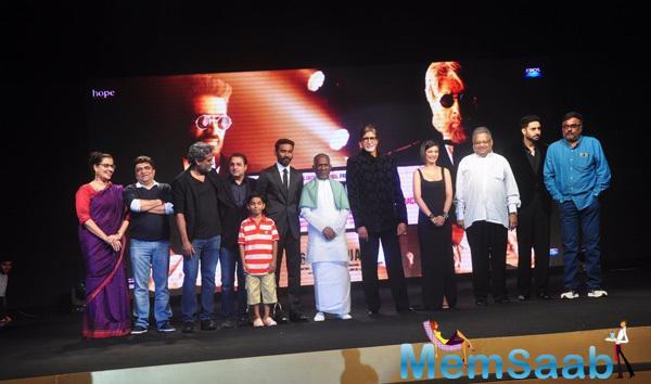 R. Balki,Dhanush,Ilaiyaraaja,Amitabh,Akshara Haasan,Abhishek And Others At Shamitabh Audio Launch Event