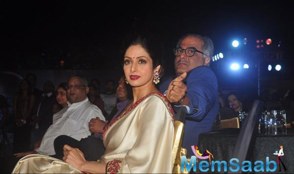 Sridevi With Her Producer Husband Boney Kapoor For Shamitabh Music Launch