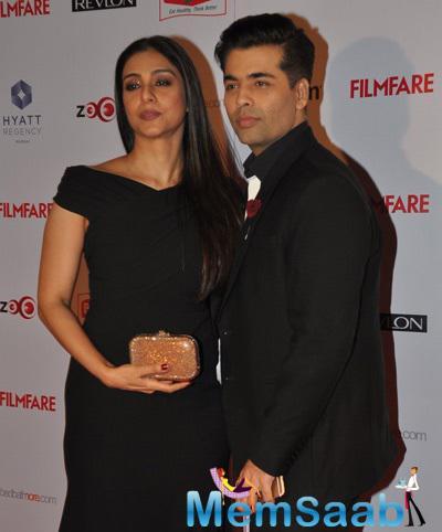 Tabu And Karan Johar Posed For Camera At 60th Britannia Filmfare Pre-Awards Night Bash