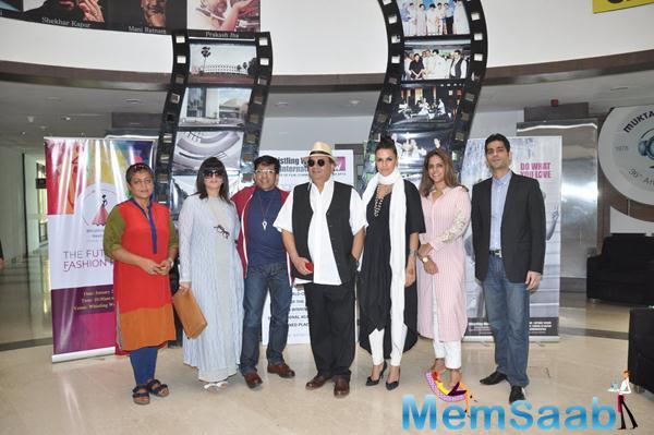Subhash Ghai,Neha Dhupia,Neeta Lulla And Others Posed At Whistling Woods On The Occasion Of Subhash Ghai 70th Birthday