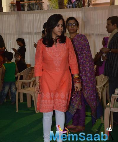 Ekta Kapoor Casual Look During Anurag Basu Saraswati Puja